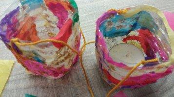 Kerzenhalter aus alten Plastikflaschen