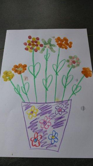 Blumenbild mit Fingerabdrücken
